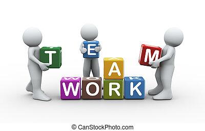 travail équipe, gens, 3d, cubes