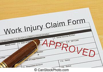 travail, approuvé, formulaire, réclamation, blessure