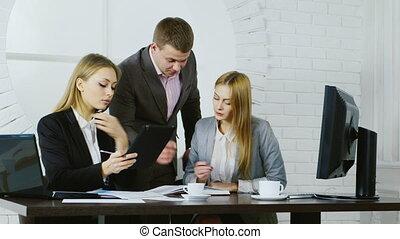 travail, business, fenêtre, fond, équipe, rond