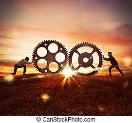 travail, concept, coopération, mécanisme, engrenages