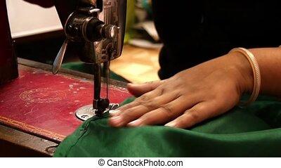 travail, couturière, asiatique