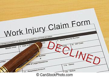 travail, décliné, formulaire, réclamation, blessure