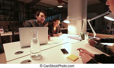 travail, discuter, créatif, gens