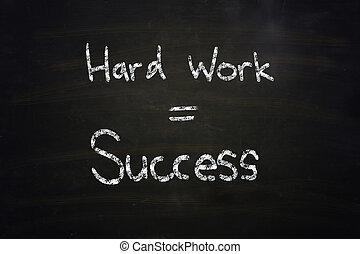 travail, dur, égal, reussite