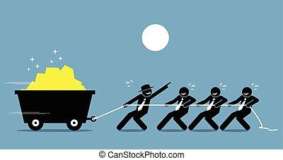 travail, fonctionnement, help., ouvriers, dur, ensemble, éditorial, encouragement, employés