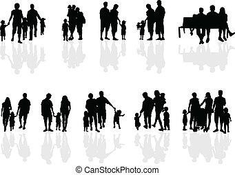 travail, groupes famille, vecteur