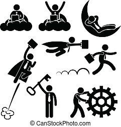 travail, homme affaires, concept, business