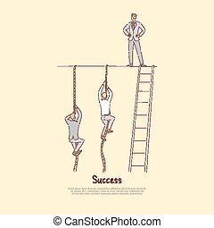 travail, homme affaires, mur, smarter, debout, sommet, hommes, cordes, pas, métaphore, harder, accomplir, vie, buts, bannière, escalade