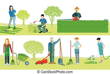 travail, jardiniers, .eps