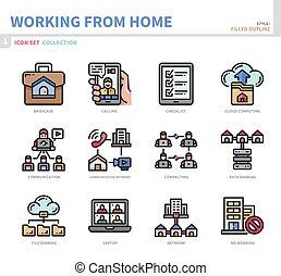 travail, maison, ensemble, icône