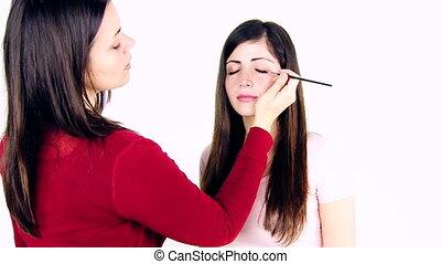 travail, modèle, artiste maquillage