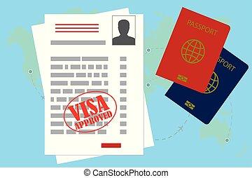travail, ou, vide, visa, passeport, permis, approuvé
