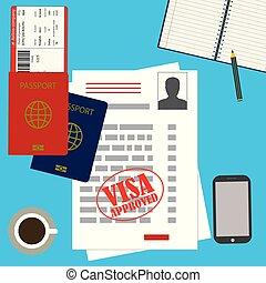 travail, ou, vide, visa, passeport, permis, billet, approuvé