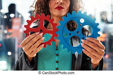 travail, partnership., tries, concept, femme affaires, gears., collaboration