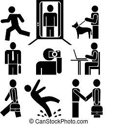 travail, -, pictograms, gens