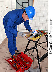 travail, plombier, expérimenté, outils, divers