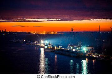 travail, port, nuit