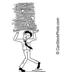 travail, porter, papier, fatigué, homme