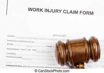 travail, réclamation, blessure, formulaire