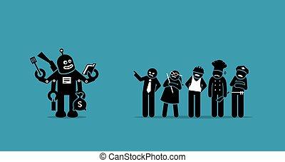 travaux, humain, prendre, robot, future., sur