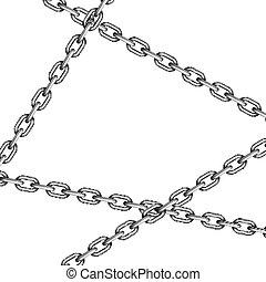 traversé, blanc, chaînes, métal, lustré