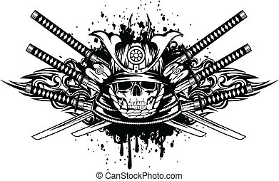 traversé, casque, épées, crâne, samouraï