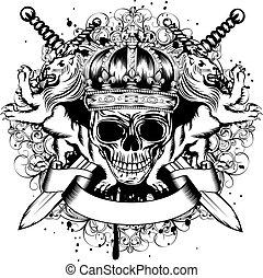traversé, couronne, épées, crâne, lions