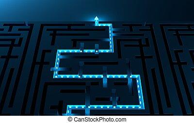 travers, sentier, rouges, labyrinthe