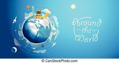 travers, vecteur, mondiale, voiture., tour, voyage, illustration, concept