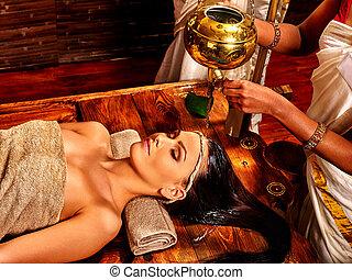 treatment., spa, femme, avoir, ayurvedic