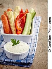 trempette, légumes frais, ail