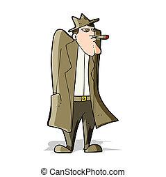 trench-coat, chapeau, dessin animé, homme