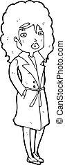 trench-coat, femme, dessin animé