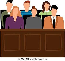 trial., accusation, vecteur, gens, jury, salle audience, tribunal, jurés, illustration