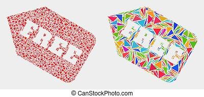 triangle, articles, étiquette, gratuite, vecteur, mosaïque, icône