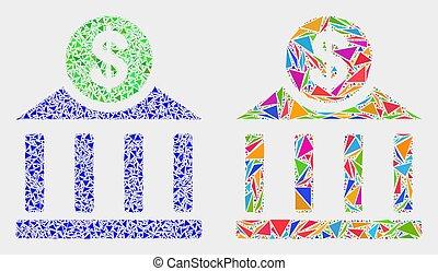 triangle, articles bureau, dollar, vecteur, mosaïque, banque, icône