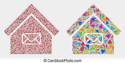 triangle, articles bureau, vecteur, poste, mosaïque, icône
