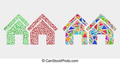 triangle, articles, maisons, vecteur, mosaïque, icône