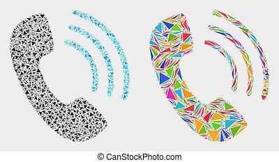 triangle, articles, téléphone, vecteur, appeler, mosaïque, icône