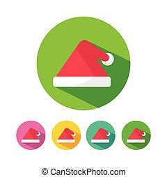triangle, chapeau, noël, santa, icônes