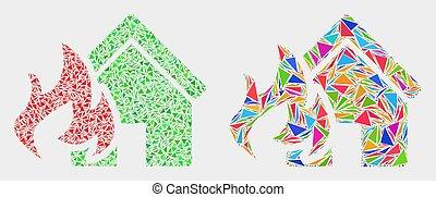 triangle, désastre, foyer tir, vecteur, articles, mosaïque, icône