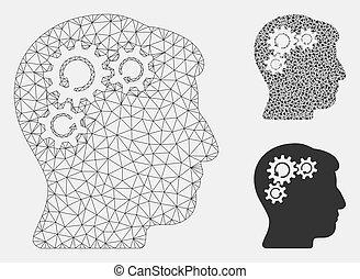 triangle, engrenage, esprit, maille, réseau, vecteur, rotation, modèle, mosaïque, icône