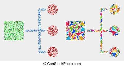 triangle, hiérarchie, articles, vecteur, mosaïque, icône