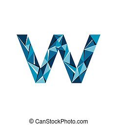 triangle, lettre, résumé, initiale, vecteur, w, logo