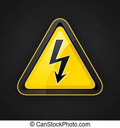 triangle, métal, signe danger, élevé, avertissement, tension, surface