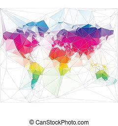 triangle, mondiale, conception, coloré, carte