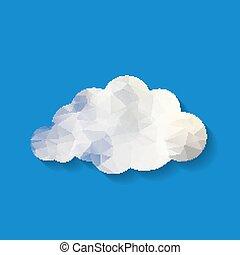 triangle, nuage, illustration, bleu, backg, blanc, papier, vecteur