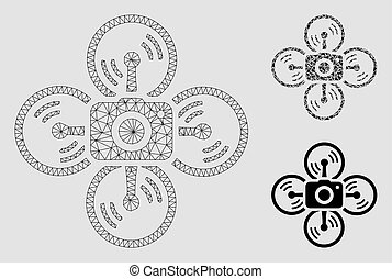 triangle, réseau, appareil photo, maille, bourdon, vecteur, modèle, mosaïque, icône