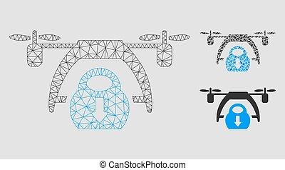triangle, réseau, maille, bourdon, vecteur, déchargement, modèle, mosaïque, icône