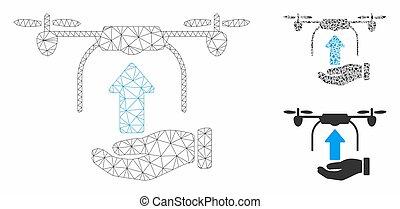 triangle, réseau, maille, bourdon, vecteur, envoyer, modèle, main, mosaïque, icône